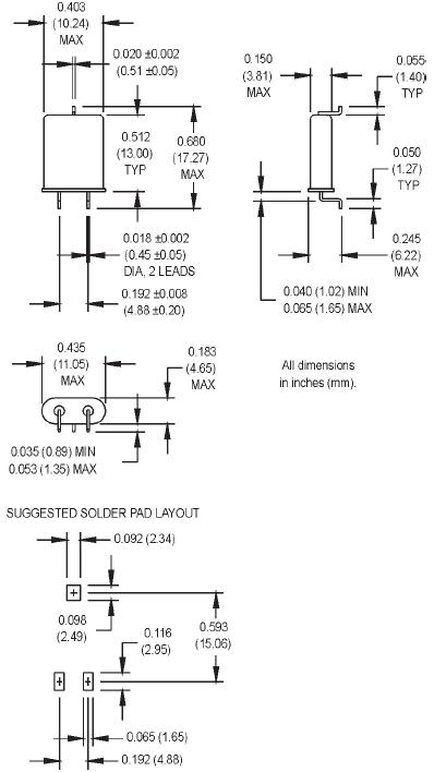 MTRONPTI晶振,石英晶振,HC-49U/N晶振,弯脚49U晶体