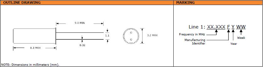 Suntsu晶振,石英晶振,SCM832晶振,AT切兆赫兹3X8晶振