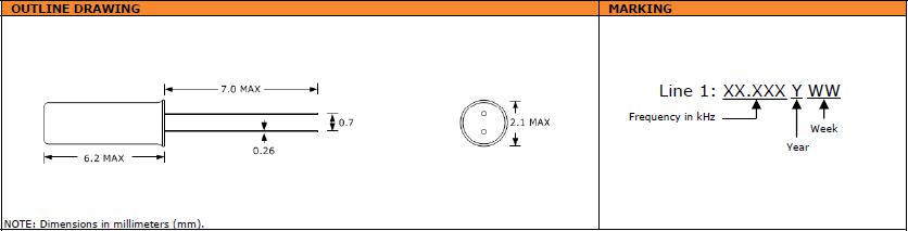 Suntsu晶振,石英晶振,STF622晶振,2X6千赫晶体