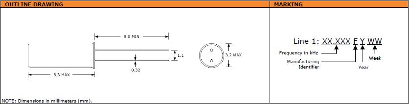 Suntsu晶振,石英晶振,STF832晶振,圆柱3X8音叉晶振