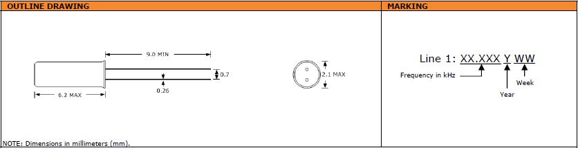 Suntsu晶振,石英晶振,SWT622晶振,2X6圆柱表晶