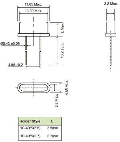 AEL晶振,石英晶振,HC-49/S晶振,通孔安装石英晶体