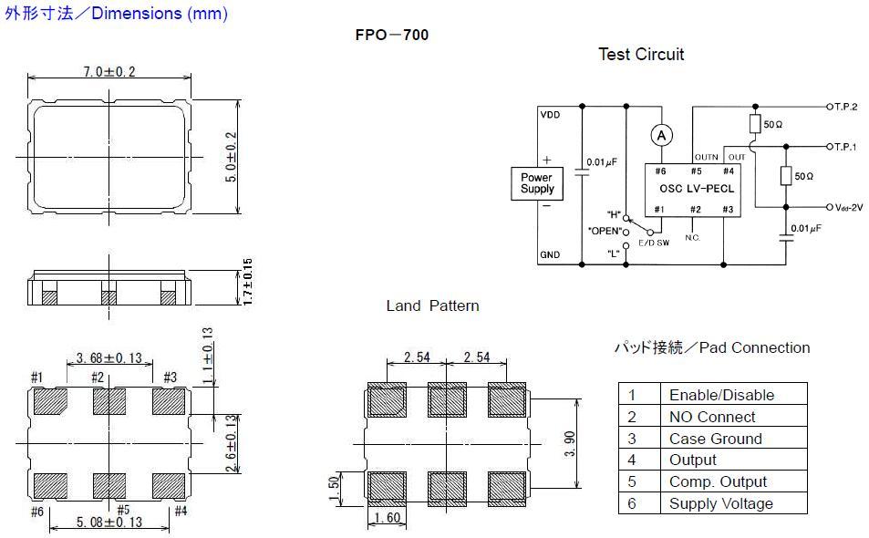 Fujicom晶振,贴片晶振,FPO-700晶振,SMD型LVPECL输出晶振