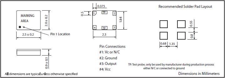 MTI-MILLIREN晶振,贴片晶振,407晶振,小体积2520有源晶振