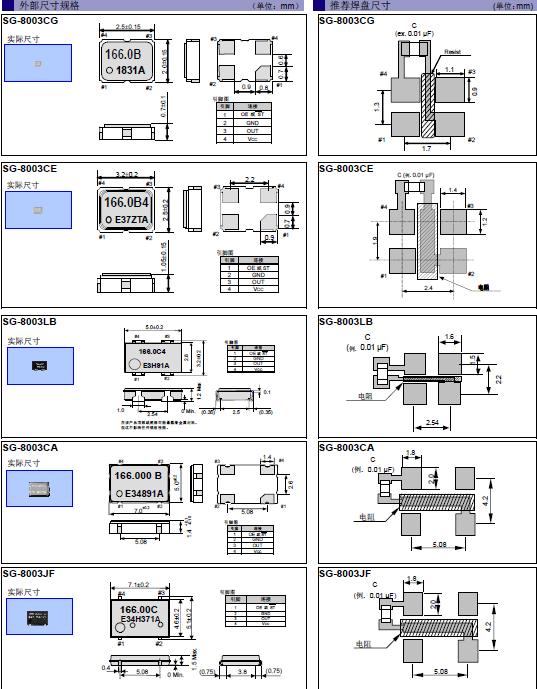 爱普生晶振,贴片晶振,SG-8003JF晶振,进口陶瓷封装有源晶振