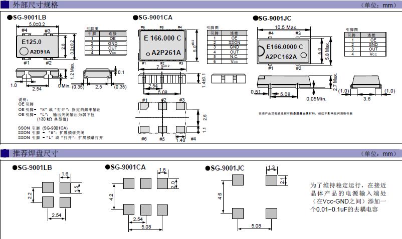 爱普生晶振,贴片晶振,SG-9001JC晶振,大体积陶瓷面CMOS振荡器