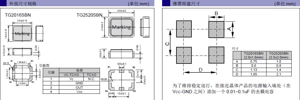 爱普生晶振,温补晶振,TG2520SBN晶振,X1G0051510109晶振