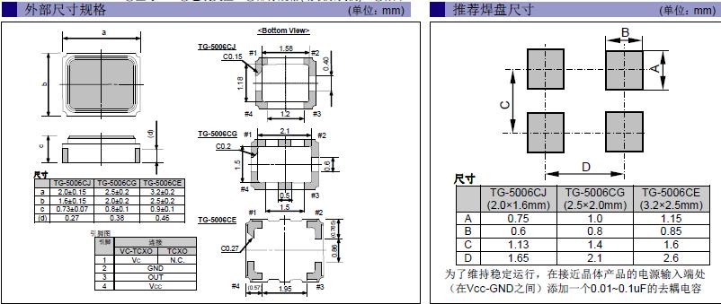 爱普生晶振,温补晶振,TG-5006CG晶振,X1G0042110001晶振